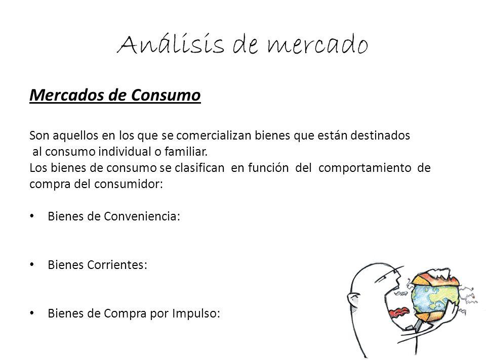 Análisis de mercado Mercados de Consumo Son aquellos en los que se comercializan bienes que están destinados al consumo individual o familiar. Los bie