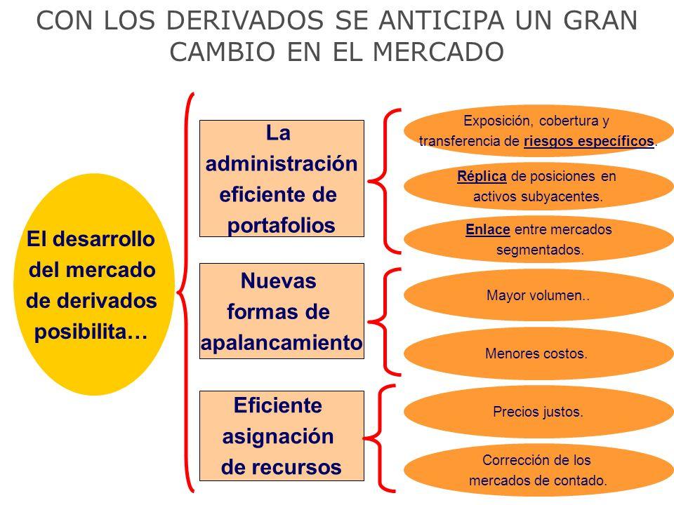 CON LOS DERIVADOS SE ANTICIPA UN GRAN CAMBIO EN EL MERCADO El desarrollo del mercado de derivados posibilita… La administración eficiente de portafoli