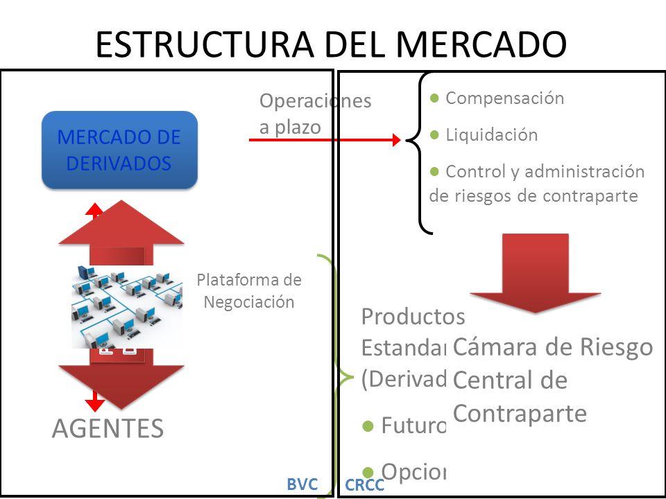 ESTRUCTURA DEL MERCADO AGENTES Plataforma de Negociación Productos Estandarizados (Derivados) Futuros Opciones Operaciones a plazo Compensación Liquid