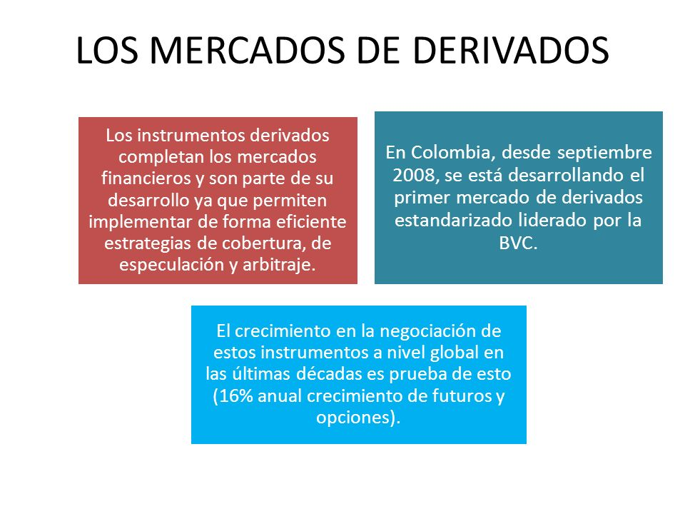 LOS MERCADOS DE DERIVADOS Los instrumentos derivados completan los mercados financieros y son parte de su desarrollo ya que permiten implementar de forma eficiente estrategias de cobertura, de especulación y arbitraje.