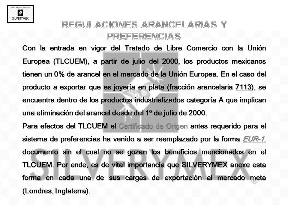 Con la entrada en vigor del Tratado de Libre Comercio con la Unión Europea (TLCUEM), a partir de julio del 2000, los productos mexicanos tienen un 0%