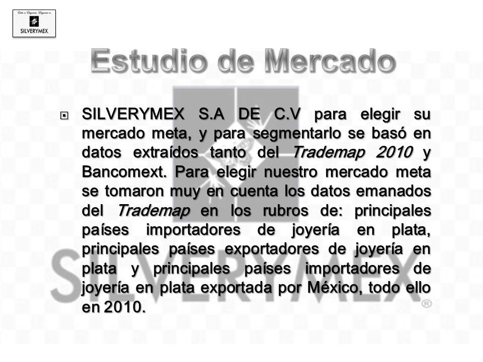 SILVERYMEX S.A DE C.V para elegir su mercado meta, y para segmentarlo se basó en datos extraídos tanto del Trademap 2010 y Bancomext. Para elegir nues