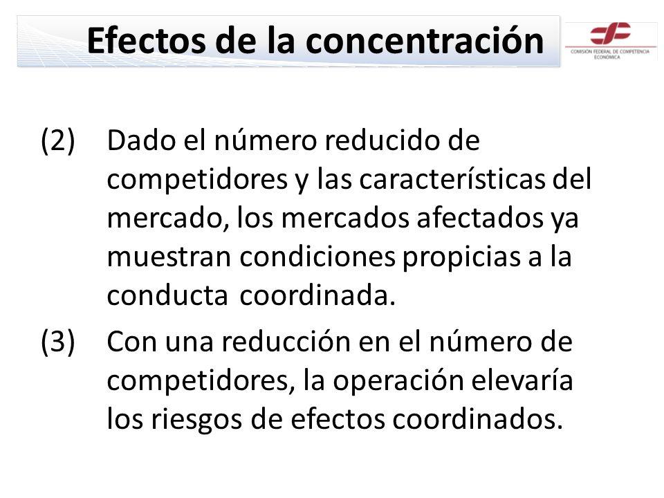 Efectos de la concentración (2)Dado el número reducido de competidores y las características del mercado, los mercados afectados ya muestran condiciones propicias a la conducta coordinada.