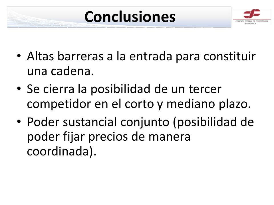Conclusiones Altas barreras a la entrada para constituir una cadena. Se cierra la posibilidad de un tercer competidor en el corto y mediano plazo. Pod