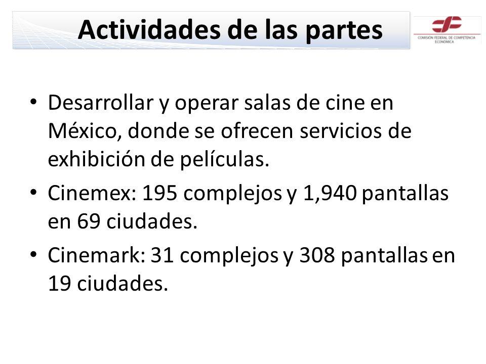 Actividades de las partes Desarrollar y operar salas de cine en México, donde se ofrecen servicios de exhibición de películas. Cinemex: 195 complejos
