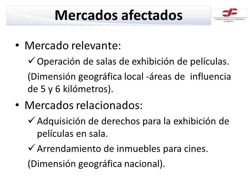 Mercados afectados Mercado relevante: Operación de salas de exhibición de películas. (Dimensión geográfica local -áreas de influencia de 5 y 6 kilómet