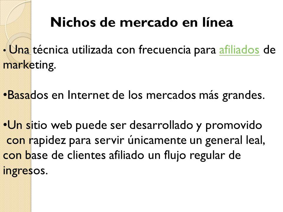 Nichos de mercado en línea Una técnica utilizada con frecuencia para afiliados de marketing.afiliados Basados en Internet de los mercados más grandes.