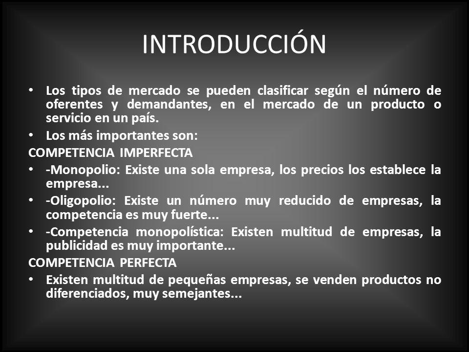 INTRODUCCIÓN Los tipos de mercado se pueden clasificar según el número de oferentes y demandantes, en el mercado de un producto o servicio en un país.