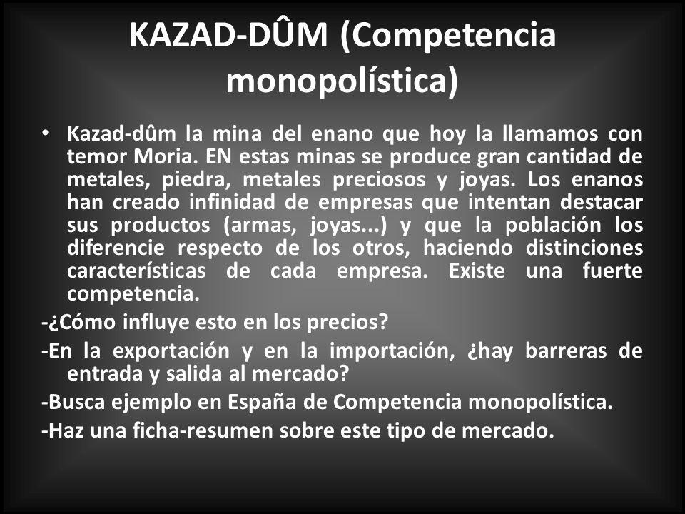 KAZAD-DÛM (Competencia monopolística) Kazad-dûm la mina del enano que hoy la llamamos con temor Moria.