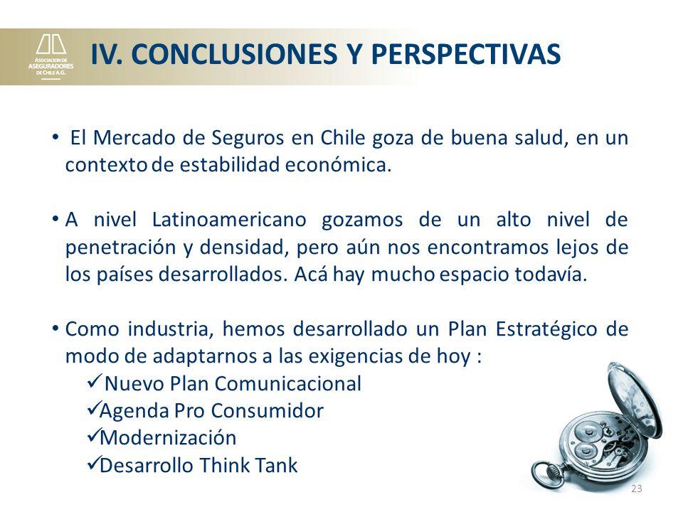 IV. CONCLUSIONES Y PERSPECTIVAS El Mercado de Seguros en Chile goza de buena salud, en un contexto de estabilidad económica. A nivel Latinoamericano g