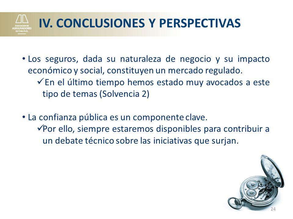 IV. CONCLUSIONES Y PERSPECTIVAS Los seguros, dada su naturaleza de negocio y su impacto económico y social, constituyen un mercado regulado. En el últ