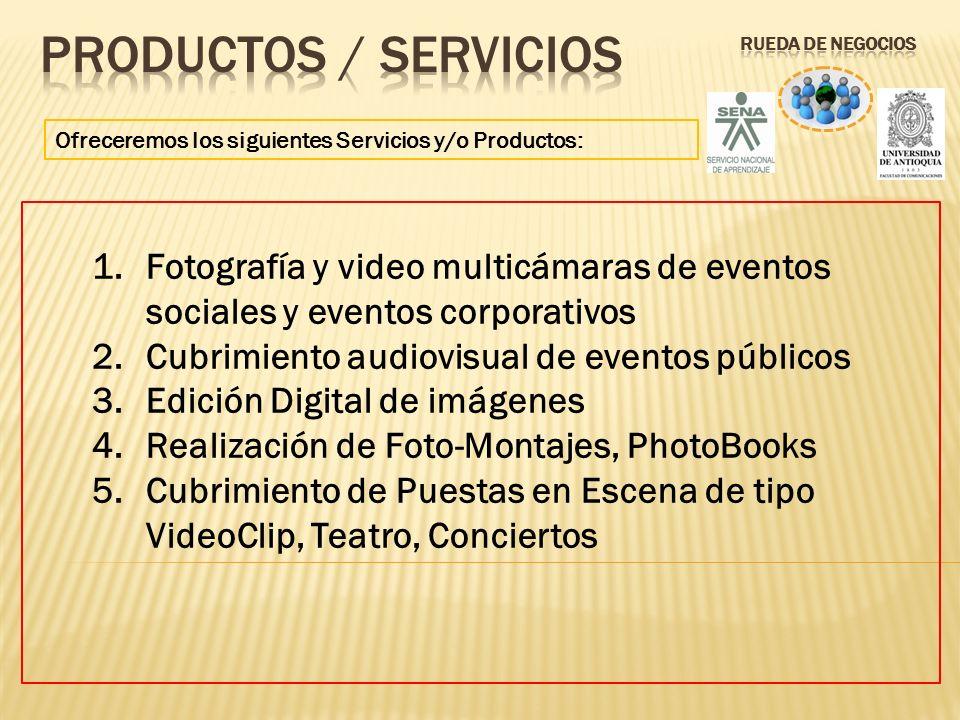 Ofreceremos los siguientes Servicios y/o Productos: 1.Fotografía y video multicámaras de eventos sociales y eventos corporativos 2.Cubrimiento audiovi