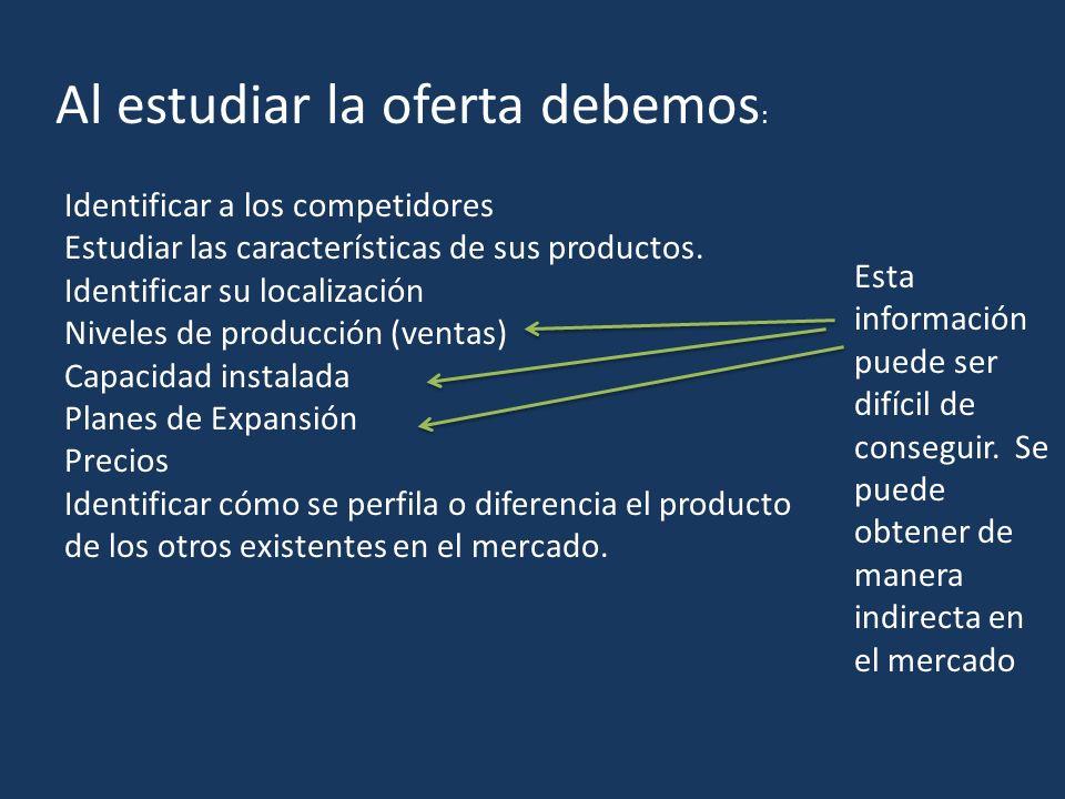 Al estudiar la oferta debemos : Identificar a los competidores Estudiar las características de sus productos.