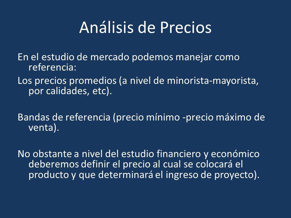 Análisis de Precios En el estudio de mercado podemos manejar como referencia: Los precios promedios (a nivel de minorista-mayorista, por calidades, etc).