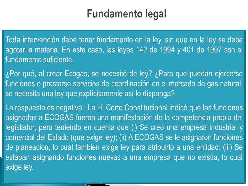 Toda intervención debe tener fundamento en la ley, sin que en la ley se deba agotar la materia.