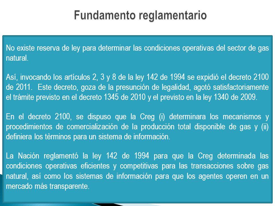 No existe reserva de ley para determinar las condiciones operativas del sector de gas natural.