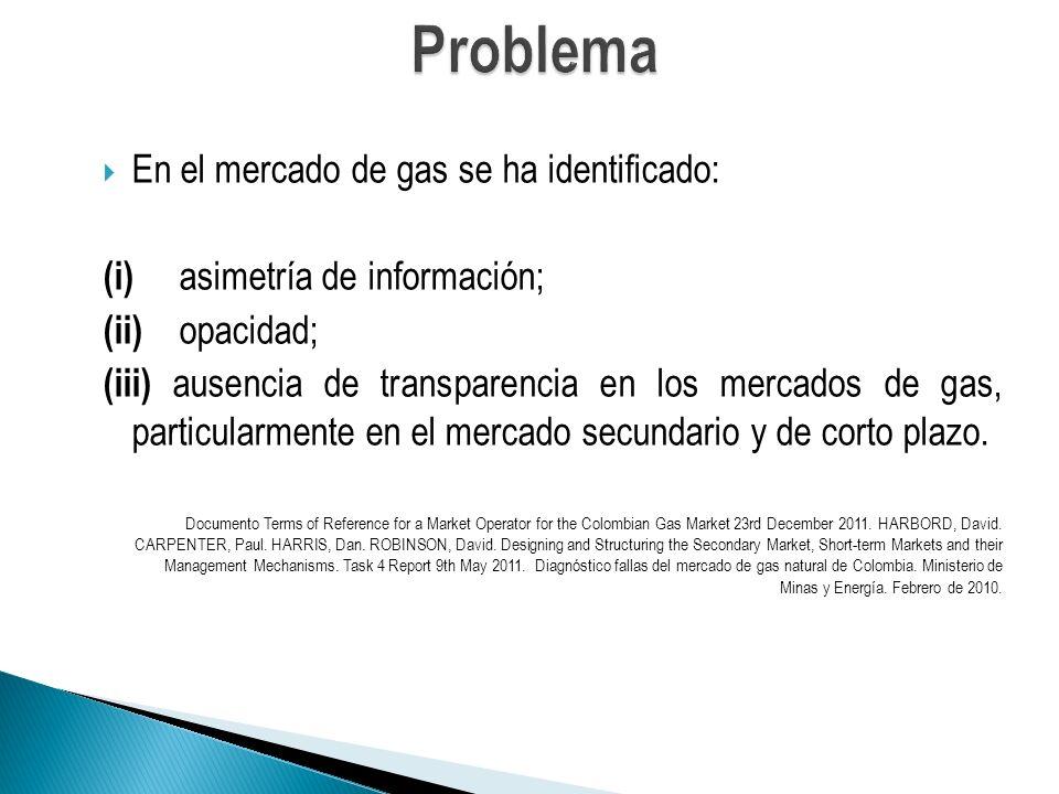 En el mercado de gas se ha identificado: (i) asimetría de información; (ii) opacidad; (iii) ausencia de transparencia en los mercados de gas, particularmente en el mercado secundario y de corto plazo.