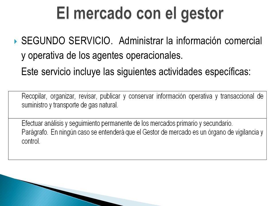 SEGUNDO SERVICIO.Administrar la información comercial y operativa de los agentes operacionales.
