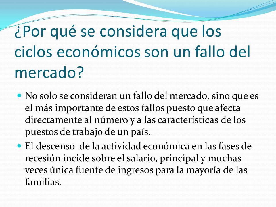 ¿Por qué se considera que los ciclos económicos son un fallo del mercado? No solo se consideran un fallo del mercado, sino que es el más importante de