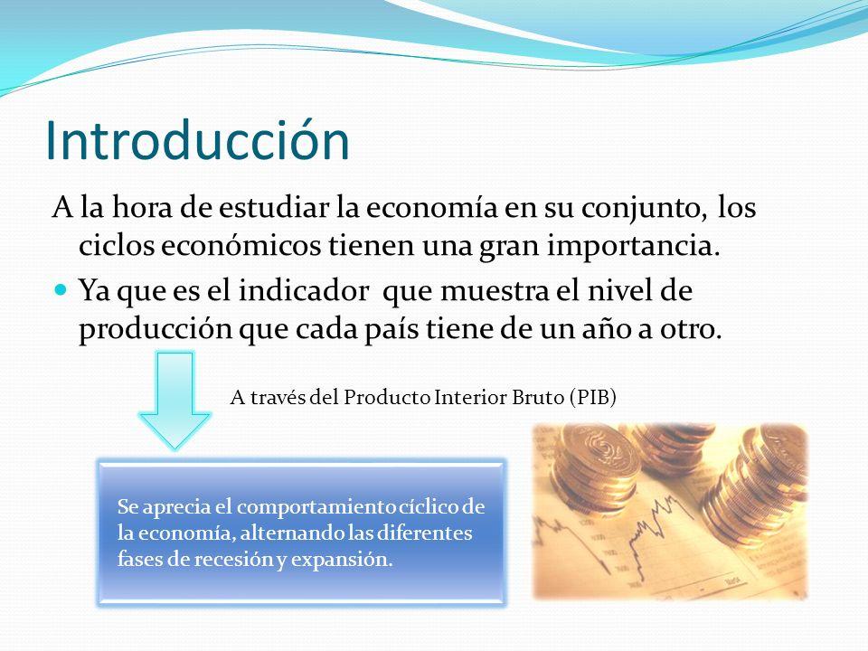 Introducción A la hora de estudiar la economía en su conjunto, los ciclos económicos tienen una gran importancia. Ya que es el indicador que muestra e