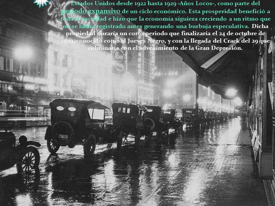 La imagen corresponde al periodo de prosperidad económica que tuvo Estados Unidos desde 1922 hasta 1929 -Años Locos-, como parte del periodo expansivo