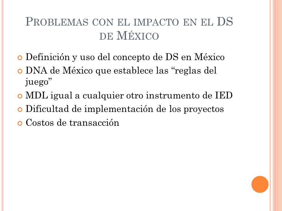 P ROBLEMAS CON EL IMPACTO EN EL DS DE M ÉXICO Definición y uso del concepto de DS en México DNA de México que establece las reglas del juego MDL igual
