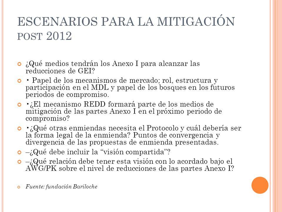 ESCENARIOS PARA LA MITIGACIÓN POST 2012 ¿Qué medios tendrán los Anexo I para alcanzar las reducciones de GEI? Papel de los mecanismos de mercado; rol,