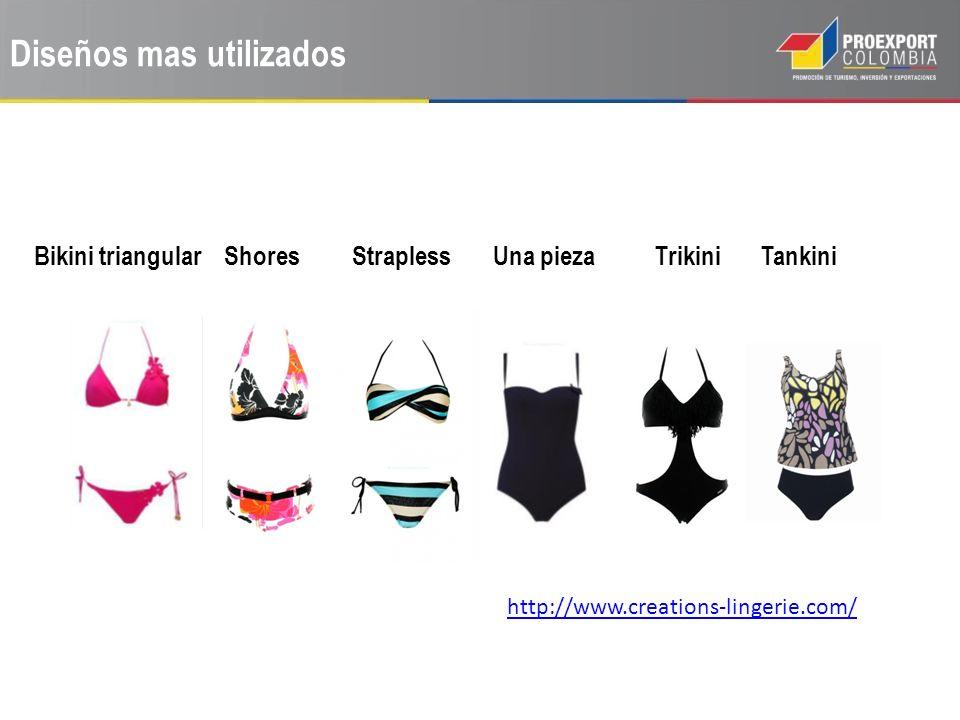 Diseños mas utilizados Bikini triangular Shores Strapless Una pieza Trikini Tankini http://www.creations-lingerie.com/