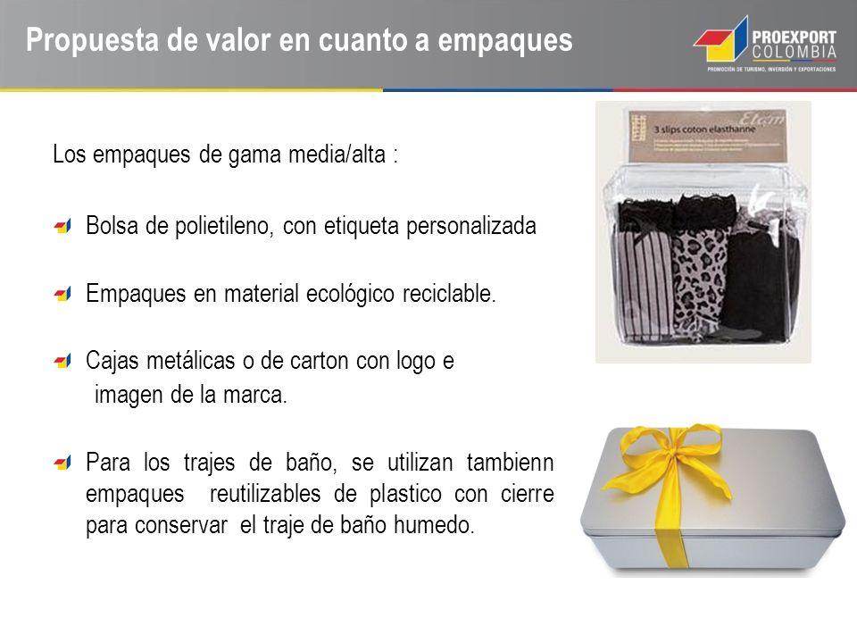 Propuesta de valor en cuanto a empaques Los empaques de gama media/alta : Bolsa de polietileno, con etiqueta personalizada Empaques en material ecológ