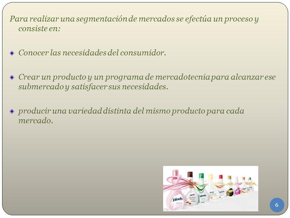 Para realizar una segmentación de mercados se efectúa un proceso y consiste en: Conocer las necesidades del consumidor.