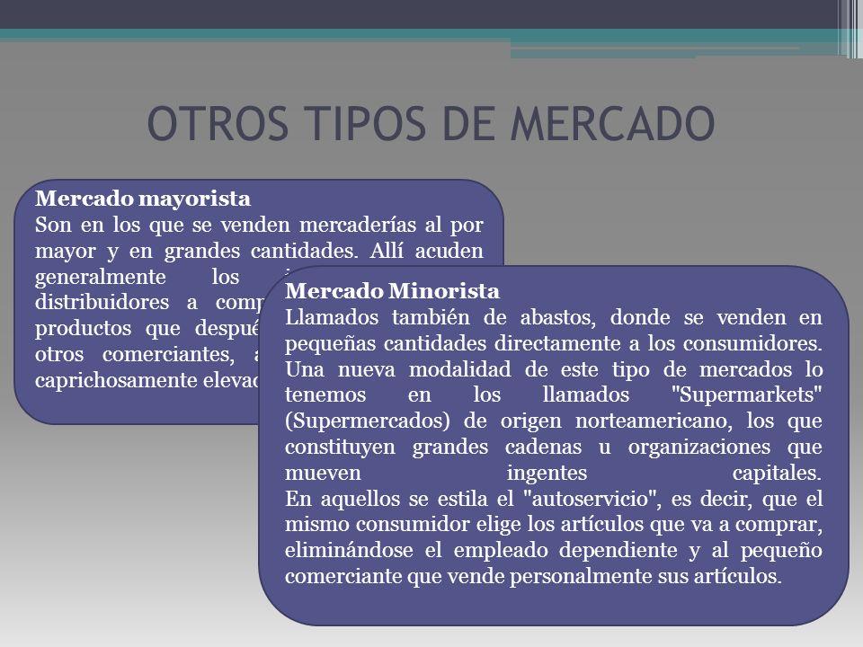 OTROS TIPOS DE MERCADO Mercado mayorista Son en los que se venden mercaderías al por mayor y en grandes cantidades. Allí acuden generalmente los inter