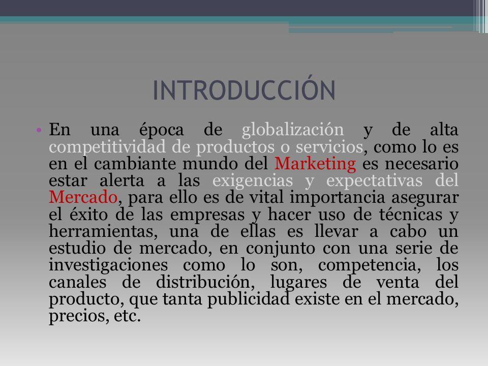 INTRODUCCIÓN En una época de globalización y de alta competitividad de productos o servicios, como lo es en el cambiante mundo del Marketing es necesa