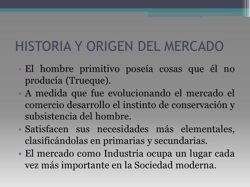 HISTORIA Y ORIGEN DEL MERCADO El hombre primitivo poseía cosas que él no producía (Trueque). A medida que fue evolucionando el mercado el comercio des