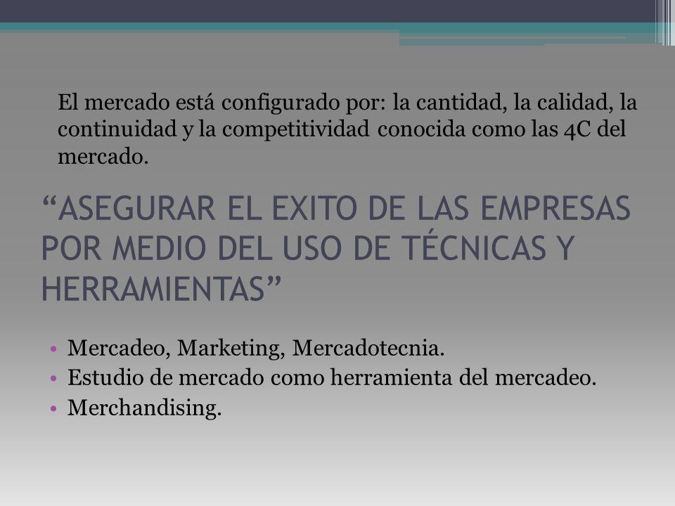 ASEGURAR EL EXITO DE LAS EMPRESAS POR MEDIO DEL USO DE TÉCNICAS Y HERRAMIENTAS Mercadeo, Marketing, Mercadotecnia. Estudio de mercado como herramienta