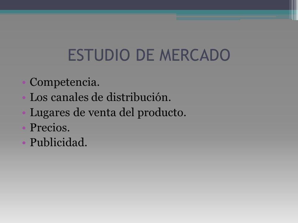 ESTUDIO DE MERCADO Competencia. Los canales de distribución. Lugares de venta del producto. Precios. Publicidad.