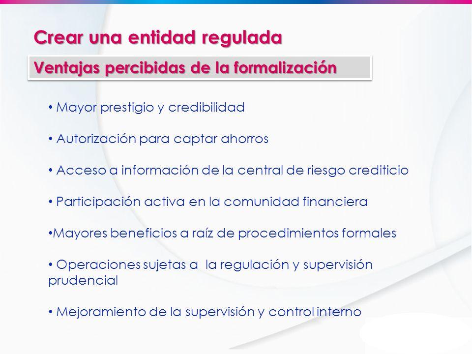 Crear una entidad regulada Ventajas percibidas de la formalización Mayor prestigio y credibilidad Autorización para captar ahorros Acceso a informació