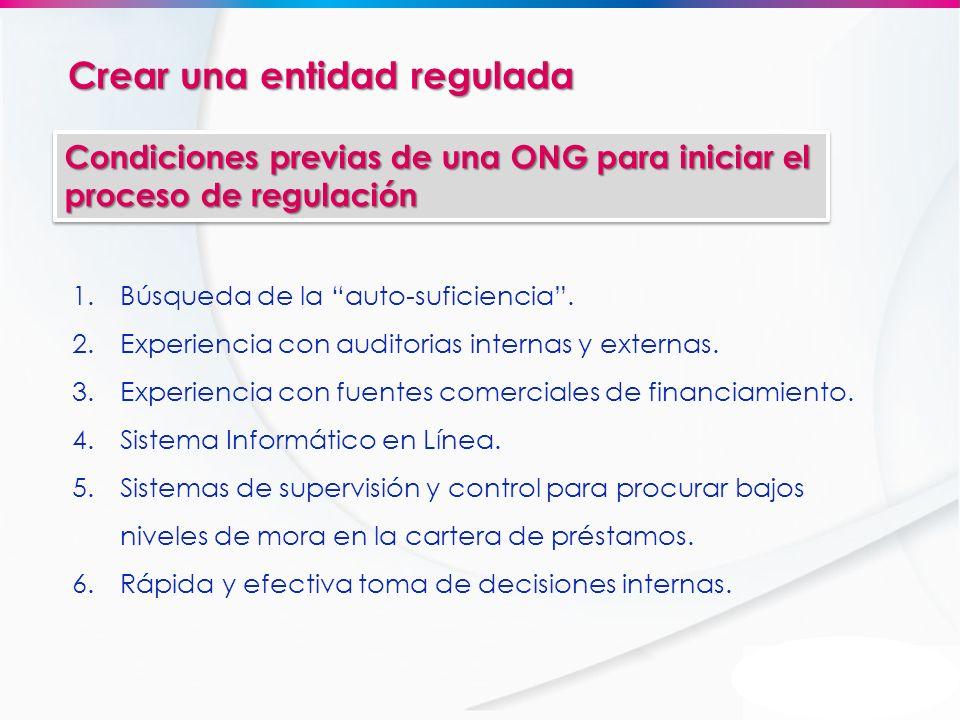 Crear una entidad regulada Condiciones previas de una ONG para iniciar el proceso de regulación 1.Búsqueda de la auto-suficiencia. 2.Experiencia con a