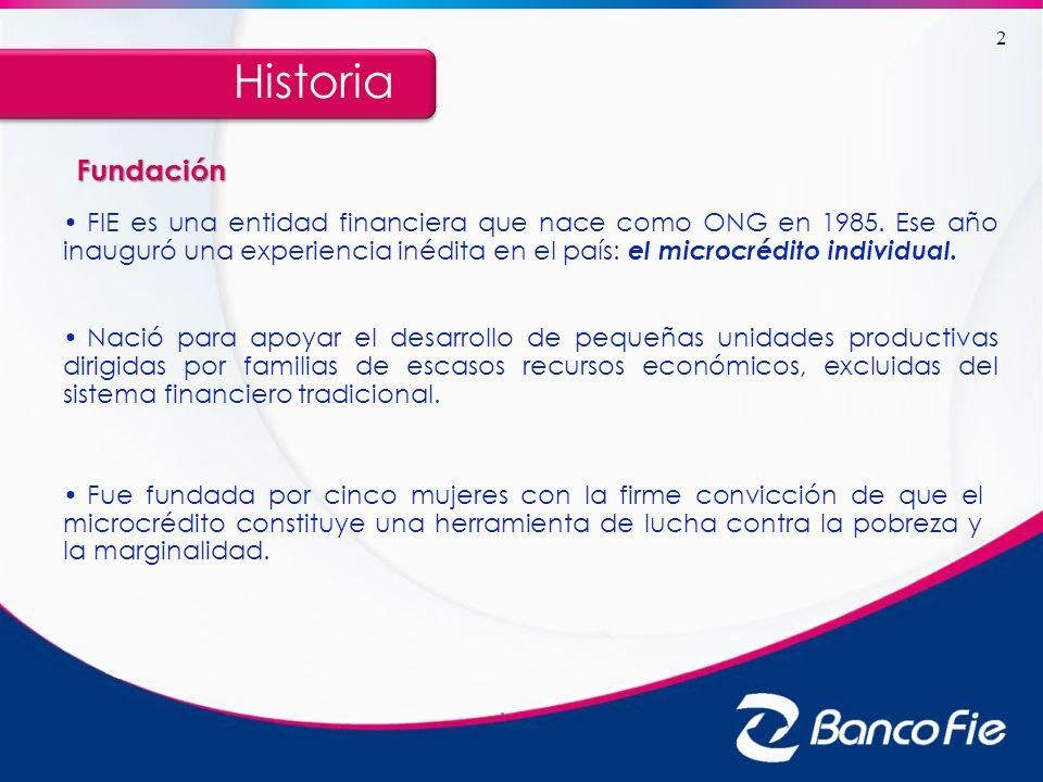 En 1998, FIE comienza a operar bajo la supervisión de la Superintendencia de Bancos y Entidades Financieras e inicia un proceso diversificación de productos y servicios, y una amplia expansión territorial.