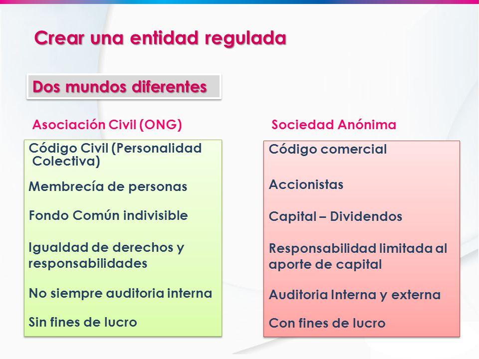 Asociación Civil (ONG) Sociedad Anónima Código Civil (Personalidad Colectiva) Membrecía de personas Fondo Común indivisible Igualdad de derechos y res
