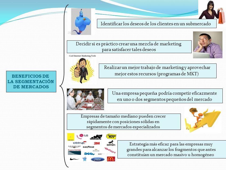 BENEFICIOS DE LA SEGMENTACIÓN DE MERCADOS Identificar los deseos de los clientes en un submercado Decidir si es práctico crear una mezcla de marketing