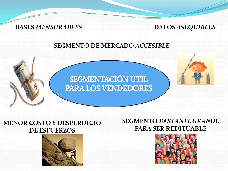 BASES MENSURABLESDATOS ASEQUIBLES SEGMENTO DE MERCADO ACCESIBLE MENOR COSTO Y DESPERDICIO DE ESFUERZOS SEGMENTO BASTANTE GRANDE PARA SER REDITUABLE