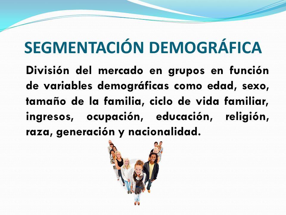 SEGMENTACIÓN DEMOGRÁFICA División del mercado en grupos en función de variables demográficas como edad, sexo, tamaño de la familia, ciclo de vida fami