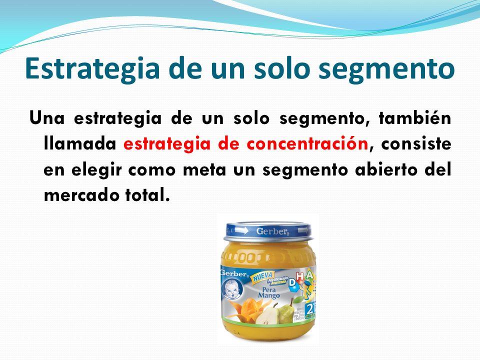 Estrategia de un solo segmento Una estrategia de un solo segmento, también llamada estrategia de concentración, consiste en elegir como meta un segmen