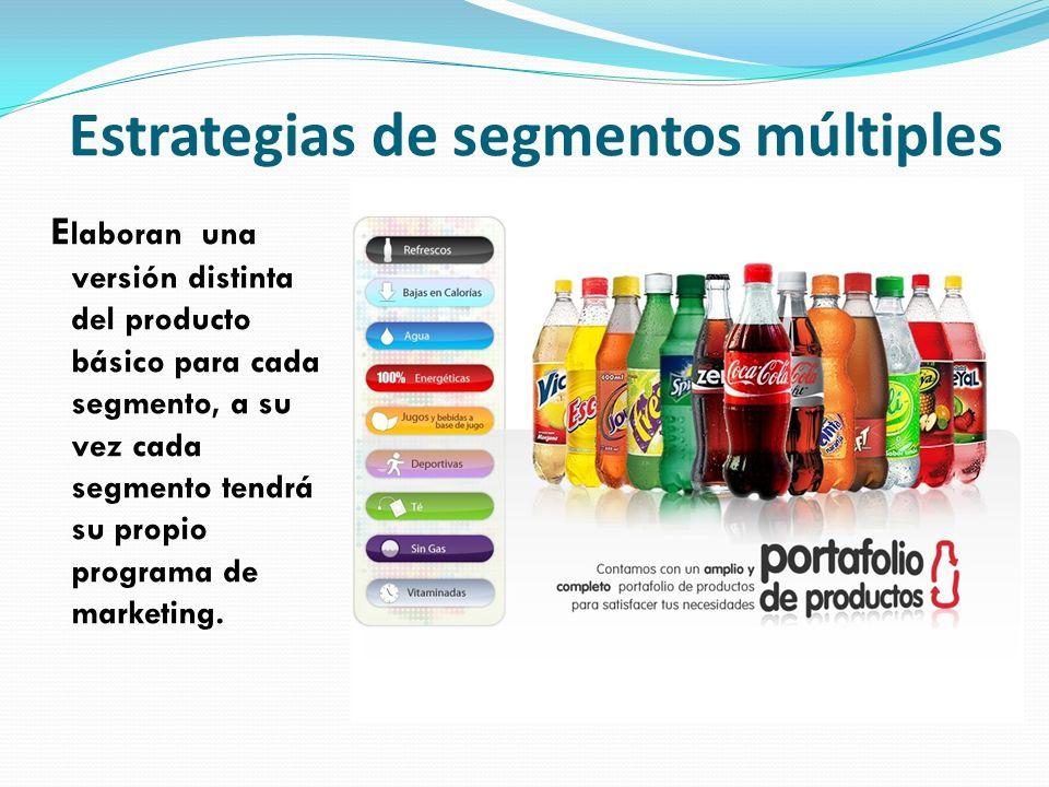 Estrategias de segmentos múltiples E laboran una versión distinta del producto básico para cada segmento, a su vez cada segmento tendrá su propio prog