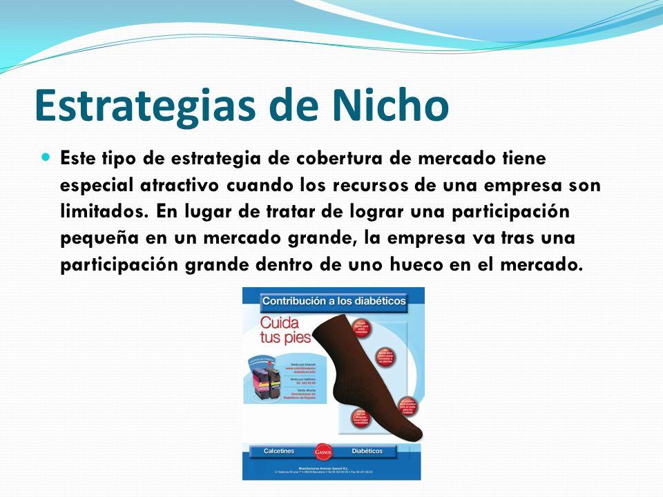 Estrategias de Nicho Este tipo de estrategia de cobertura de mercado tiene especial atractivo cuando los recursos de una empresa son limitados. En lug