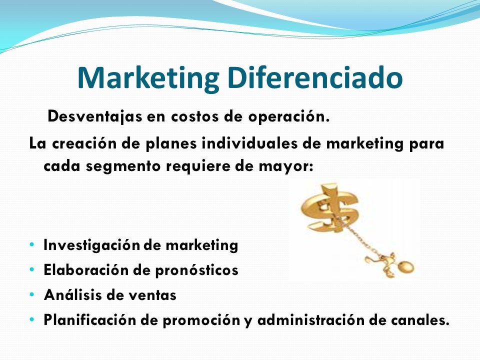 Marketing Diferenciado Desventajas en costos de operación. La creación de planes individuales de marketing para cada segmento requiere de mayor: Inves