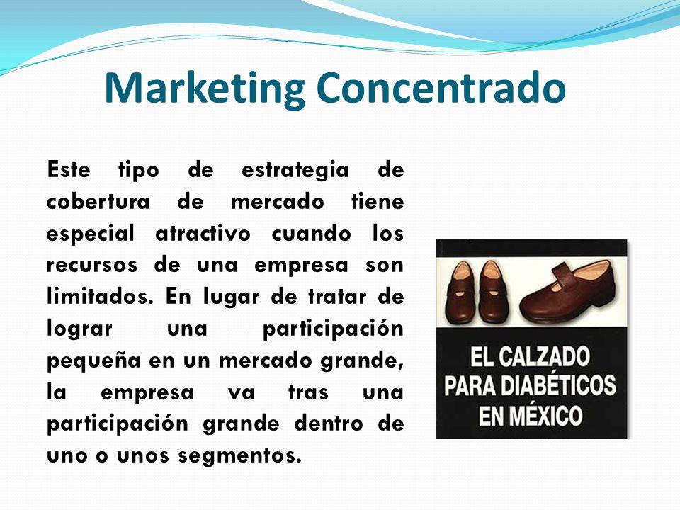 Marketing Concentrado Este tipo de estrategia de cobertura de mercado tiene especial atractivo cuando los recursos de una empresa son limitados. En lu