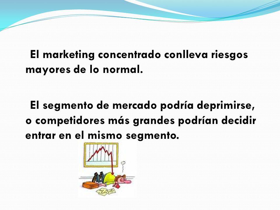 El marketing concentrado conlleva riesgos mayores de lo normal. El segmento de mercado podría deprimirse, o competidores más grandes podrían decidir e