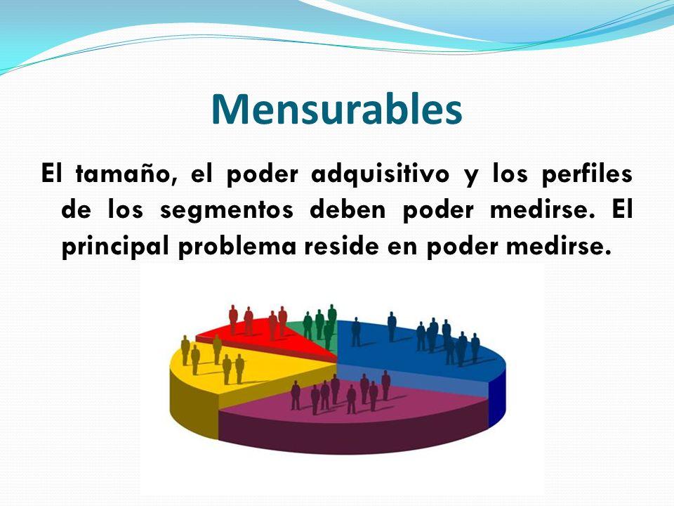 Mensurables El tamaño, el poder adquisitivo y los perfiles de los segmentos deben poder medirse. El principal problema reside en poder medirse.