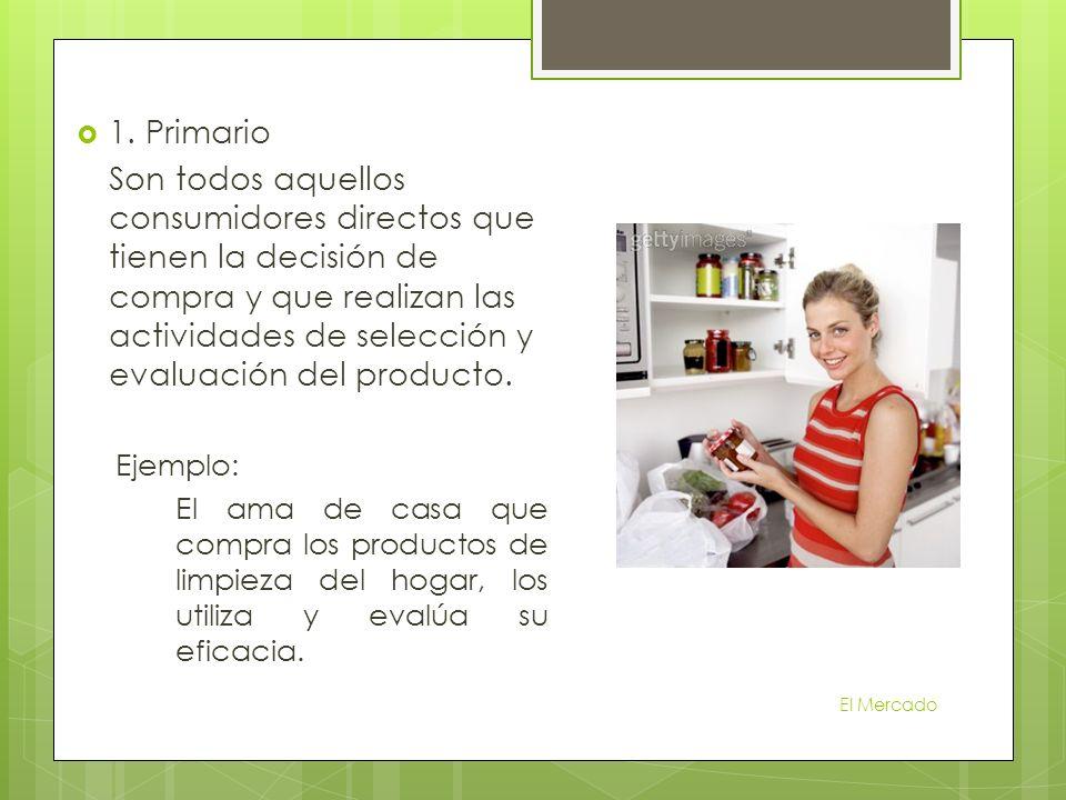 1. Primario Son todos aquellos consumidores directos que tienen la decisión de compra y que realizan las actividades de selección y evaluación del pro